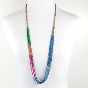 J. Crew Sweater Necklace Blue Pink Green